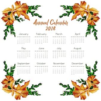 Bruine en groene bloemen kalender 2018