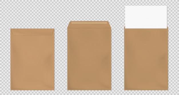 Bruine envelop a4-sjabloon, blanco papier covers ingesteld