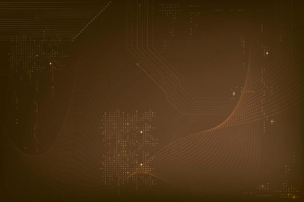 Bruine futuristische golvenachtergrond met computercodetechnologie