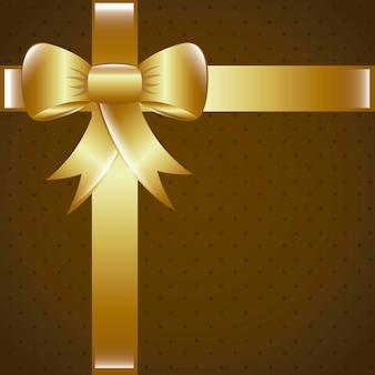 Bruine geschenk met gouden boog achtergrond vectorillustratie