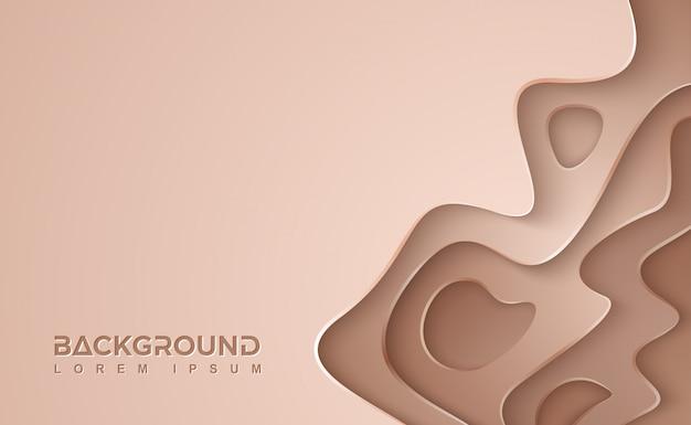 Bruine golvende vectorachtergrond. pakpapier gesneden achtergrond met 3d-stijl.