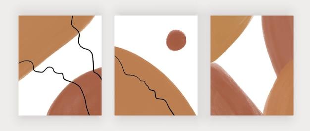 Bruine hand tekenen van boho kunst aan de muur