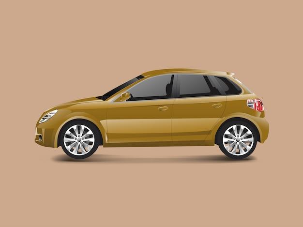 Bruine hatchbackauto in een bruine vector als achtergrond
