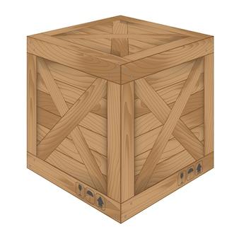 Bruine houten doos op wit