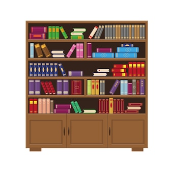 Bruine houten grote boekenkast met kleurrijke boeken. vector illustratie voor bibliotheek, onderwijs of boekhandel concept.