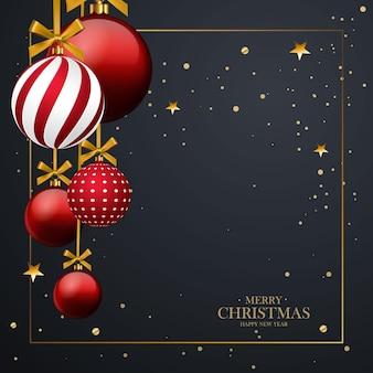 Bruine kerstballen met geometrisch patroon. 3d-realistische stijl met frame, abstracte vakantie achtergrond. met vrolijk kerstfeest. plaats voor uw tekst. vector illustratie.