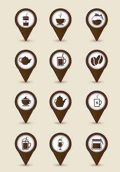 Bruine koffiepictogrammen over beige achtergrondvector