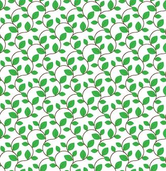Bruine krullende takken met groen bladeren naadloos patroon
