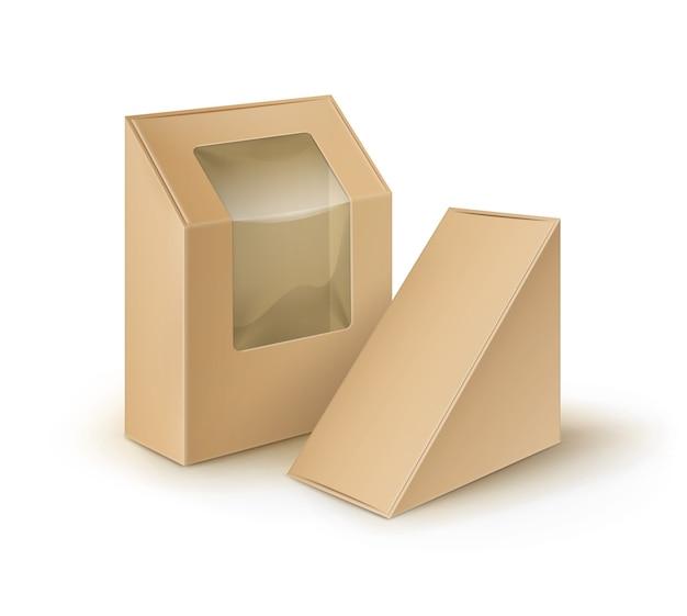 Bruine lege kartonnen rechthoek driehoek afhaalmaaltijden dozen verpakking voor sandwich