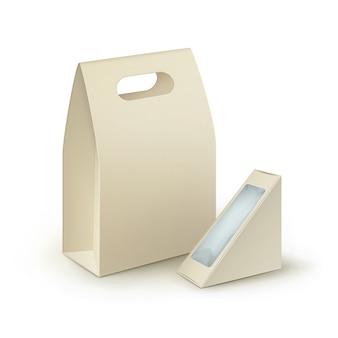 Bruine lege kartonnen rechthoek driehoek meeneem handvat lunchboxen verpakking voor sandwich
