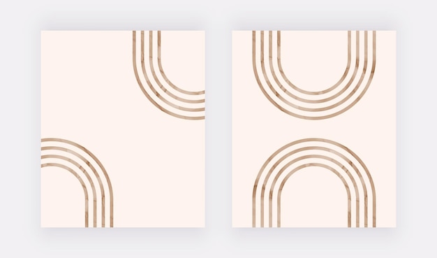 Bruine lijnen wall art print. boho design posters