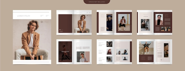 Bruine mode catalogus lay-out ontwerpsjabloon