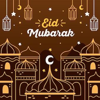 Bruine nacht hand getrokken eid mubarak