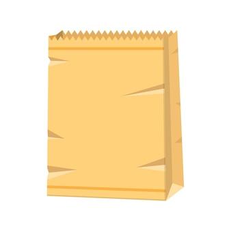 Bruine papieren zak. boodschappentas voor eten.
