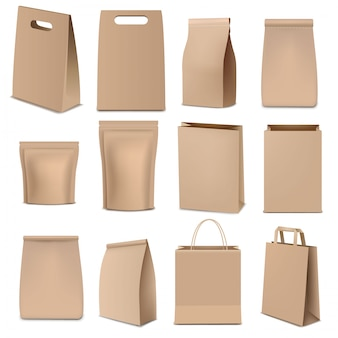 Bruine papieren zakken en verpakkingen grote collectie