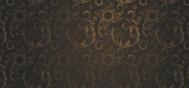 Bruine patroonbanner in een gotische stijl