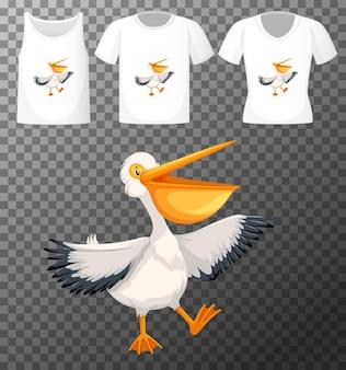 Bruine pelikaan in stand positie stripfiguur met vele soorten shirts op transparante achtergrond