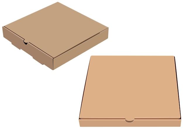 Bruine pizza kartonnen doos geïsoleerd op een witte achtergrond