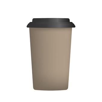 Bruine plastic beker voor koffie in 3d. papieren koffiekopje geïsoleerd.