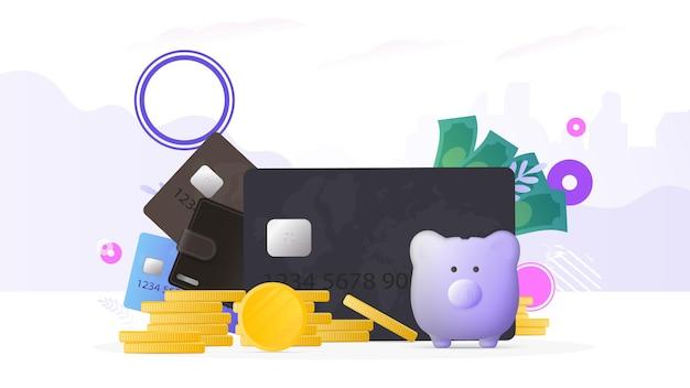 Bruine portemonnee met creditcards en gouden munten. herenportemonnee met bankpasjes. het concept van sparen en accumulatie van geld. goed voor presentaties en artikelen over een zakelijk onderwerp.
