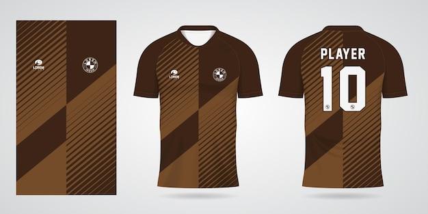 Bruine sporttrui-sjabloon voor teamuniformen en voetbalt-shirtontwerp