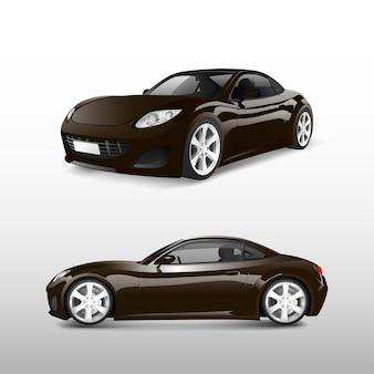 Bruine sportwagen die op witte vector wordt geïsoleerd