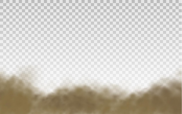 Bruine stoffige wolk of droog zand dat met een windvlaag vliegt