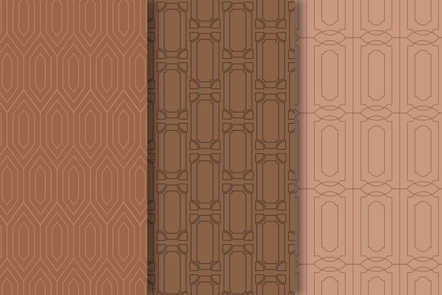 Bruine tinten art deco naadloos patroon