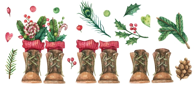 Bruine vintage laarzen met rode sokken versierd met nieuwjaarsdecoraties (karamel, kerstboomtakken, bessen, bladeren)