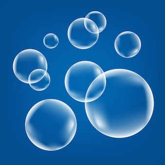 Bruisende luchtbellen op blauwe achtergrond. bruisende schittert in water, zee, aquarium, oceaan. frisdrank. onderzeese vector textuur.