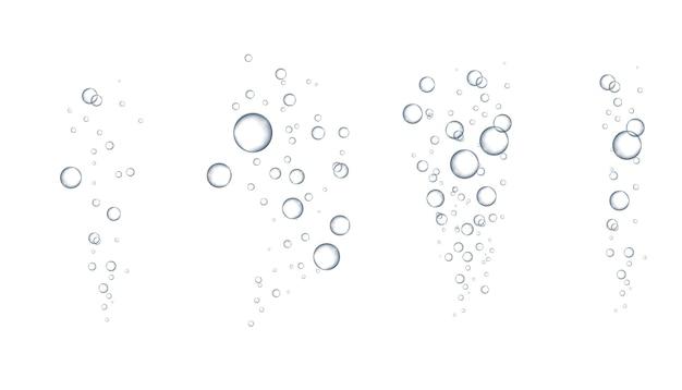 Bruisende luchtbellen stromen. frisdrank. champagne. zeep water bubbels. water bubbels. realistische heldere waterdruppels realistische set voor uw ontwerp.