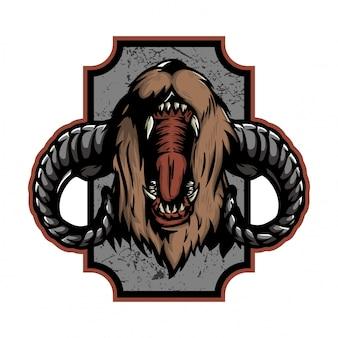 Brullende beer met lamshoorn