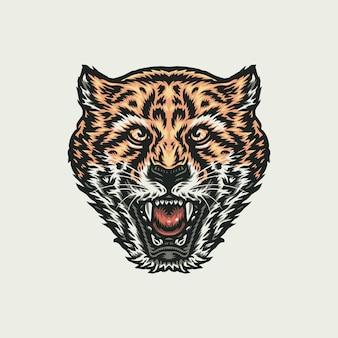 Brullende cheeta, hand getrokken lijnstijl met digitale kleur, illustratie