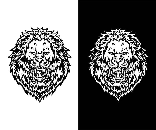 Brullende leeuw, geïsoleerd op donkere en witte achtergrond