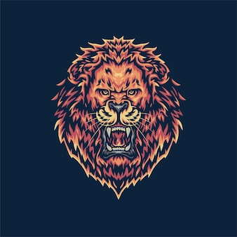 Brullende leeuw, hand getrokken lijnstijl met digitale kleur, illustratie