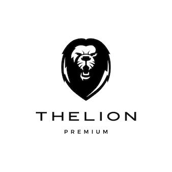 Brullende leeuw hoofd logo pictogram illustratie