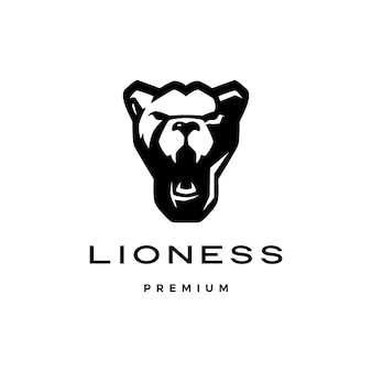 Brullende leeuwin hoofd logo vector