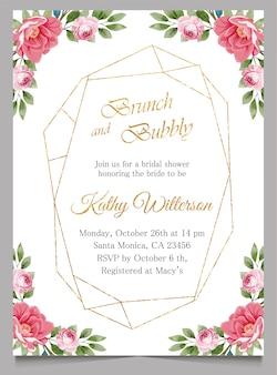 Brunch en bruisende uitnodiging met bloemen, bruids douche uitnodigen kaart