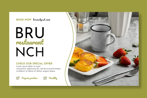 Brunch restaurant horizontale banner sjabloon