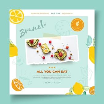 Brunch restaurant vierkante flyer