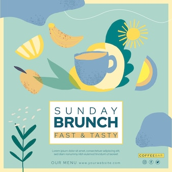 Brunch vierkante flyer-sjabloon