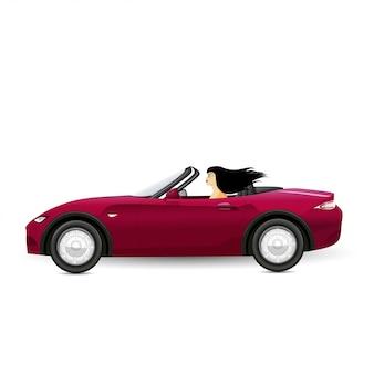Brunette die een rode convertibel drijft. vrouw rijden.