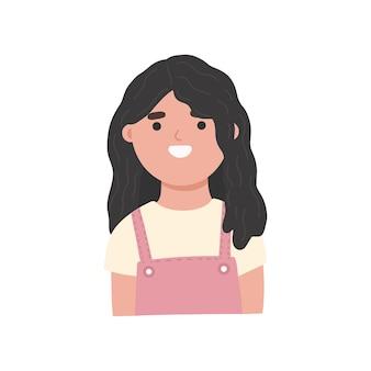 Brunette meisje vlakke stijl vectorillustratie