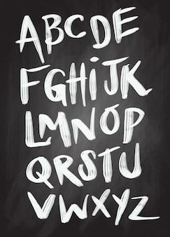 Brushpen grappig lettertype. vector alfabet.