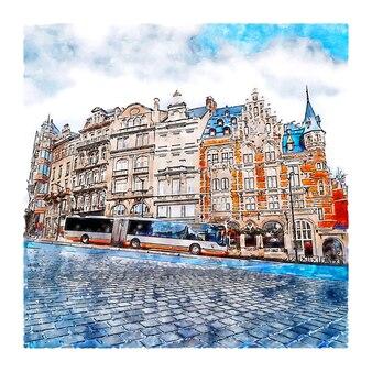 Brussel belgië aquarel hand getekende illustratie