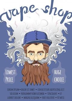 Brutale bebaarde hipster man vape wolk maken. vapen of roken. sjabloon van reclameaffiche voor vape-winkel.