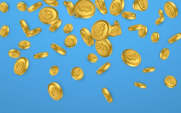Btc. bitcoin gouden munten explosie geïsoleerd op blauwe achtergrond. cryptocurrency concept.