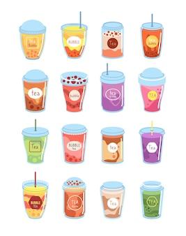 Bubbelthee. boba-melkdessert, bekerdrank. taiwan drinken levensstijl, koude latte, mokka koffie. fruit smoothie milkshake vectorillustratie. drankdrank met heerlijke parel, boba-melkcocktail