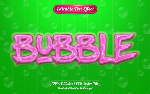 Bubble bewerkbaar teksteffect licht thema