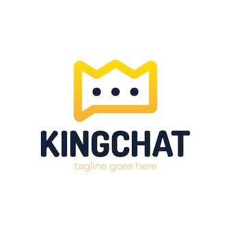 Bubble chat met kroon silhouet illustratie voor logo sjabloonontwerp.